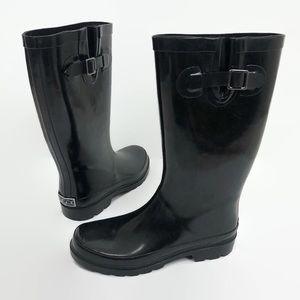 Sugar Black Pull On Tall Buckle Gusset Rain Boots